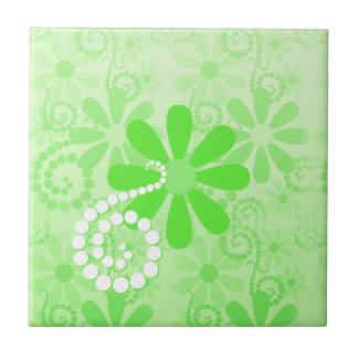 Bright Green Floral Cute Retro Daisy Flowers Tile