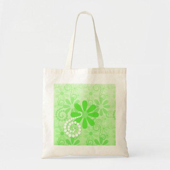 Bright Green Floral Cute Retro Daisy Flowers Tote Bag