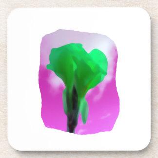 Bright Green Flower Purple Sky watercolor style Beverage Coaster