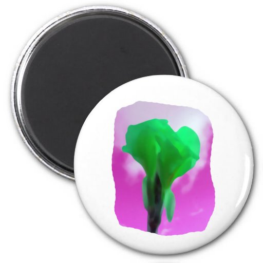 Bright Green Flower Purple Sky watercolor style Refrigerator Magnets