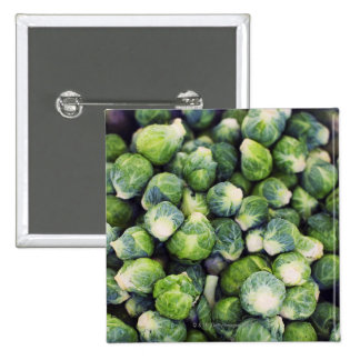 Bright Green Fresh Brussels Sprouts Pinback Buttons