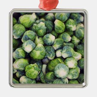 Bright Green Fresh Brussels Sprouts Metal Ornament