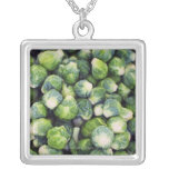Bright Green Fresh Brussels Sprouts Square Pendant Necklace