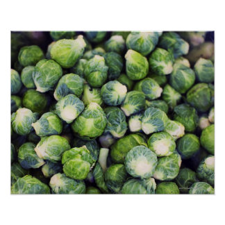Bright Green Fresh Brussels Sprouts Poster