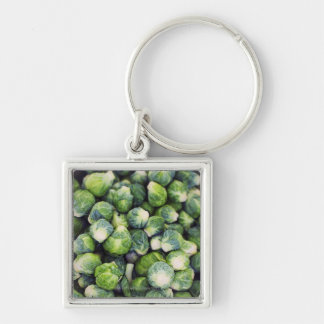 Bright Green Fresh Brussels Sprouts Silver-Colored Square Keychain