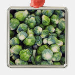 Bright Green Fresh Brussels Sprouts Square Metal Christmas Ornament
