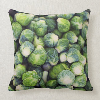 Bright Green Fresh Brussels Sprouts Throw Pillow