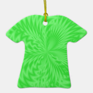 Bright Green Funky Pattern Double-Sided T-Shirt Ceramic Christmas Ornament