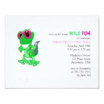 Bright Green Gecko Birthday Invitation