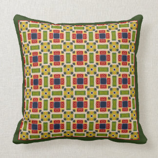 Bright Green Geometric Faux Quilt Pillow