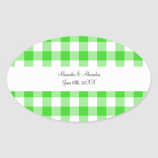 Bright green gingham pattern wedding favors oval sticker