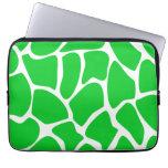 Bright Green Giraffe Print Pattern. Laptop Computer Sleeves