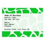 Bright Green Giraffe Print Pattern. Large Business Card