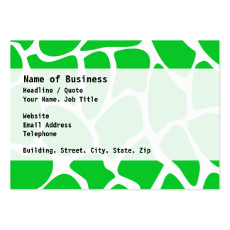 Bright Green Giraffe Print Pattern. Large Business Card