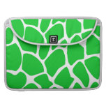 Bright Green Giraffe Print Pattern. MacBook Pro Sleeves