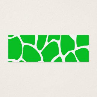 Bright Green Giraffe Print Pattern. Mini Business Card
