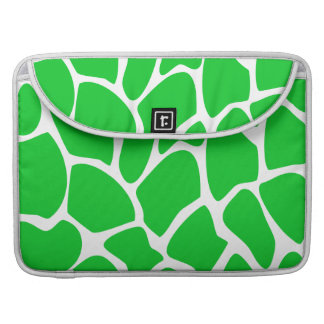 Bright Green Giraffe Print Pattern. Sleeve For MacBooks