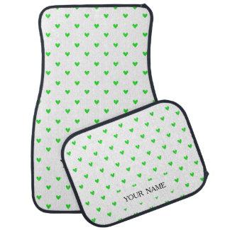 Bright Green Glitter Hearts Pattern Car Mat