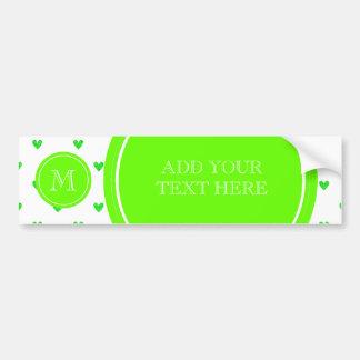 Bright Green Glitter Hearts with Monogram Bumper Sticker
