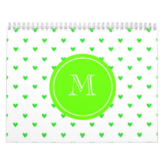 Bright Green Glitter Hearts with Monogram Calendar