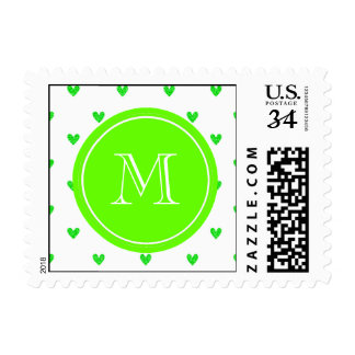 Bright Green Glitter Hearts with Monogram Stamp