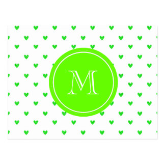 Bright Green Glitter Hearts with Monogram Postcard