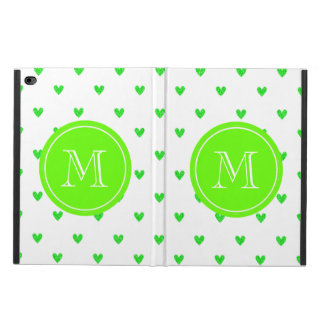 Bright Green Glitter Hearts with Monogram Powis iPad Air 2 Case