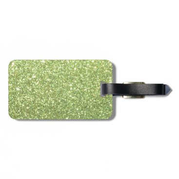 Beach Themed Bright Green Glitter Sparkles Bag Tag