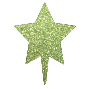 Beach Themed Bright Green Glitter Sparkles Cake Topper