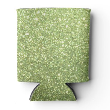 Beach Themed Bright Green Glitter Sparkles Can Cooler