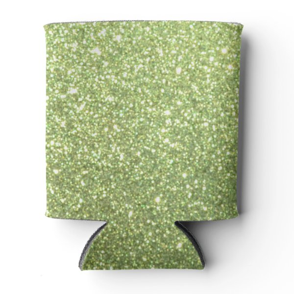 Bright Green Glitter Sparkles Can Cooler
