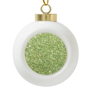 Beach Themed Bright Green Glitter Sparkles Ceramic Ball Christmas Ornament