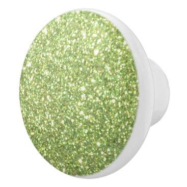 Beach Themed Bright Green Glitter Sparkles Ceramic Knob