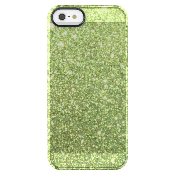 Bright Green Glitter Sparkles Clear iPhone SE/5/5s Case