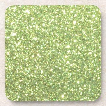 Beach Themed Bright Green Glitter Sparkles Drink Coaster