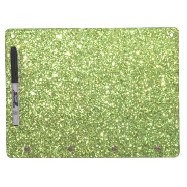 Beach Themed Bright Green Glitter Sparkles Dry Erase Board With Keychain Holder