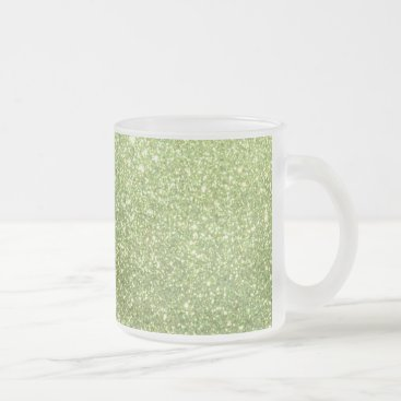Beach Themed Bright Green Glitter Sparkles Frosted Glass Coffee Mug