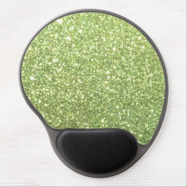 Beach Themed Bright Green Glitter Sparkles Gel Mouse Pad