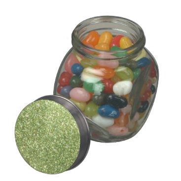 Beach Themed Bright Green Glitter Sparkles Glass Candy Jar