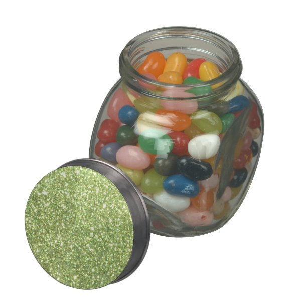 Bright Green Glitter Sparkles Glass Candy Jar