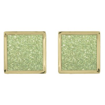 Beach Themed Bright Green Glitter Sparkles Gold Cufflinks