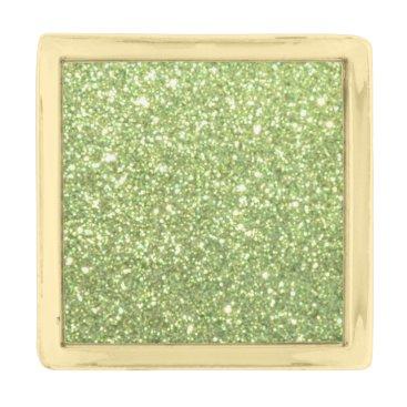 Beach Themed Bright Green Glitter Sparkles Gold Finish Lapel Pin