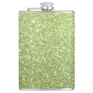 Beach Themed Bright Green Glitter Sparkles Hip Flask