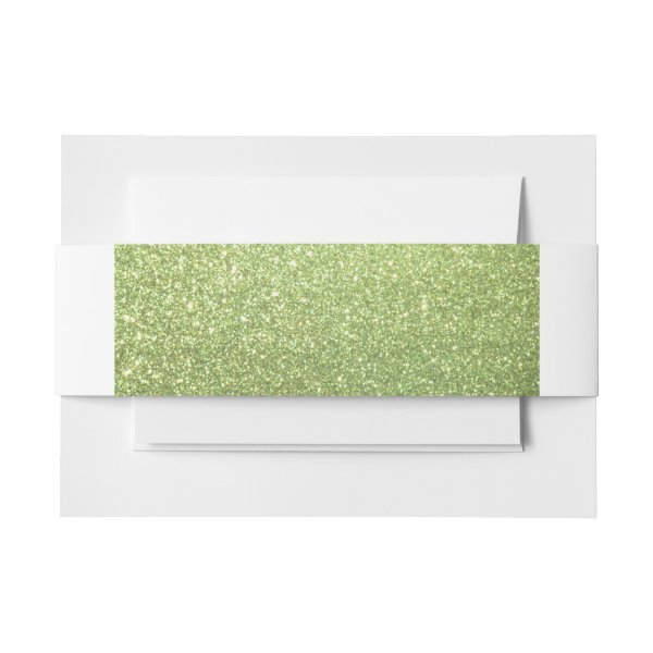 Bright Green Glitter Sparkles Invitation Belly Band
