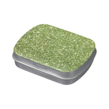 Beach Themed Bright Green Glitter Sparkles Jelly Belly Tin