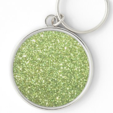 Beach Themed Bright Green Glitter Sparkles Keychain