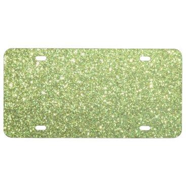 Beach Themed Bright Green Glitter Sparkles License Plate