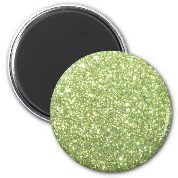 Bright Green Glitter Sparkles Magnet