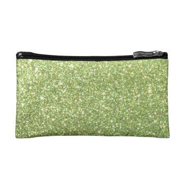 Beach Themed Bright Green Glitter Sparkles Makeup Bag