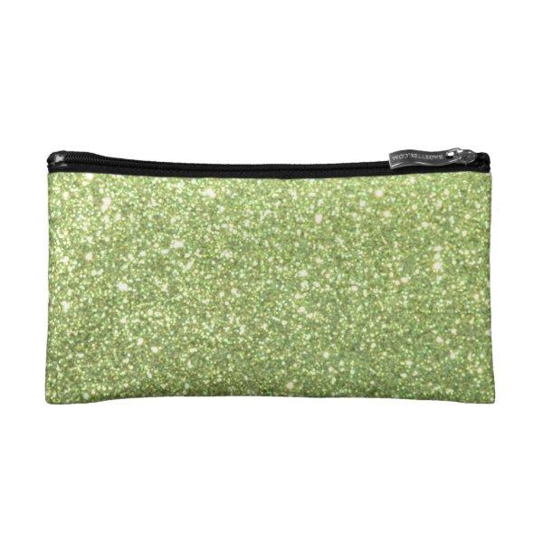 Bright Green Glitter Sparkles Makeup Bag